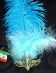 Genuine Venetian Turquoise & Gold feathered glittered petite  Mask